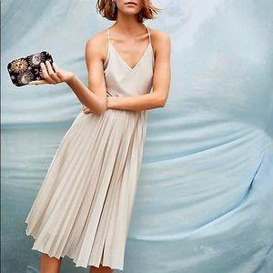 Anthropologie Pleated Metallic Dress